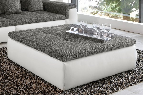 Riesiger Hocker zu XXL Sofa BIG POINT in weiss Strukturstoff anthrazit