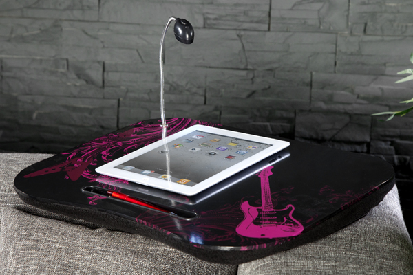 Große Design Laptopunterlage ROCKSTAR inkl. Beleuchtung Kniekissen