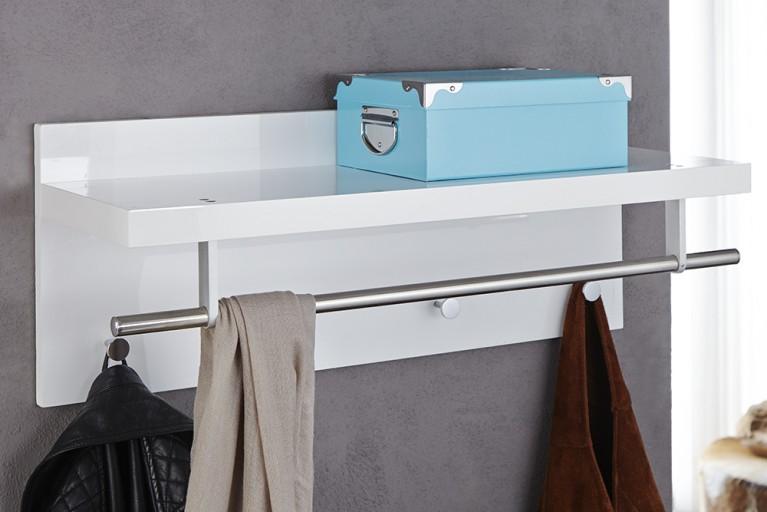 Design Wandgarderobe CLAIRE hochglanz weiß Garderobe mit Ablage