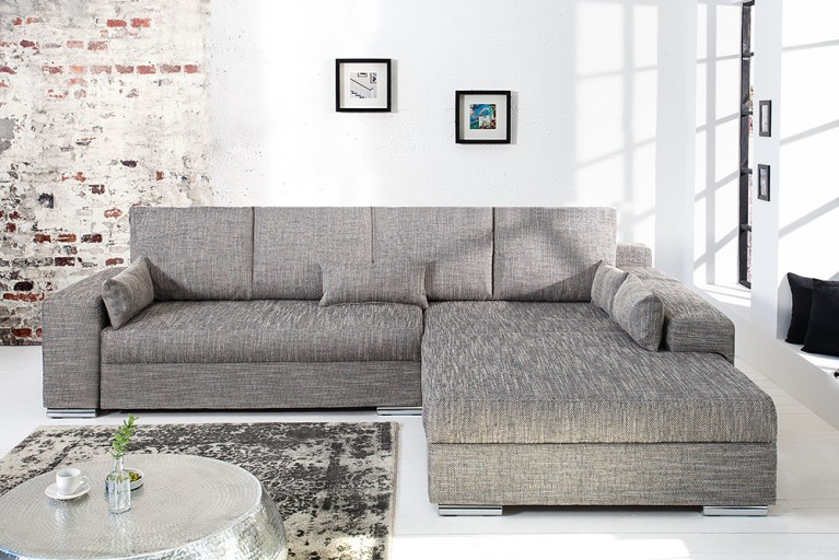 Design Ecksofa VINCENZA mit Bettfunktion Strukturstoff anthrazit