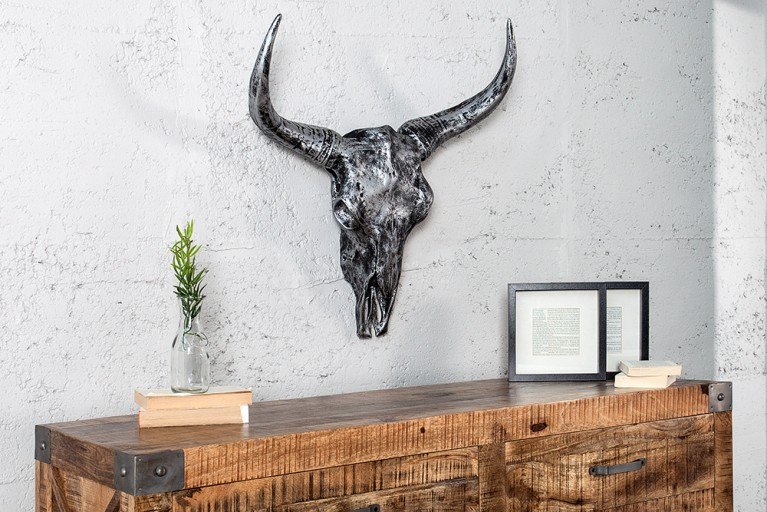 Eindrucksvoller Deko Schädel EL TORO silber Longhorn Skull 62cm