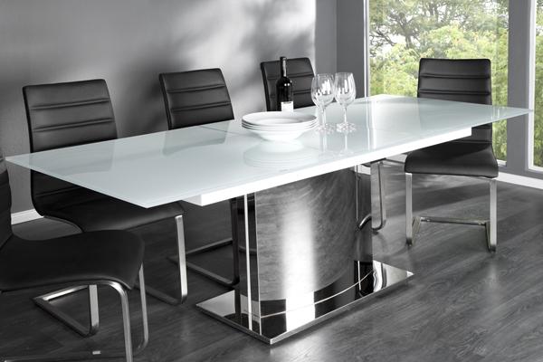 Ausziehbarer Design Esstisch ECLIPSE weiss chrom Glastisch 180-220cm Tisch
