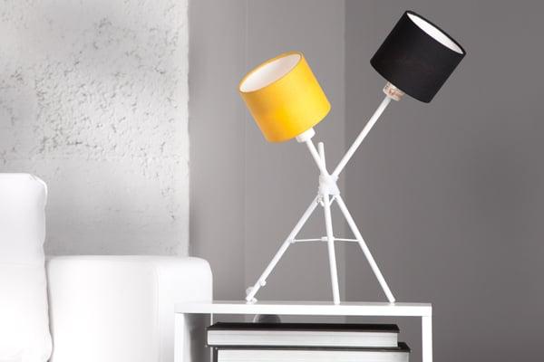 Stylische Design Tischlampe VITA weiss schwarz orange 55cm