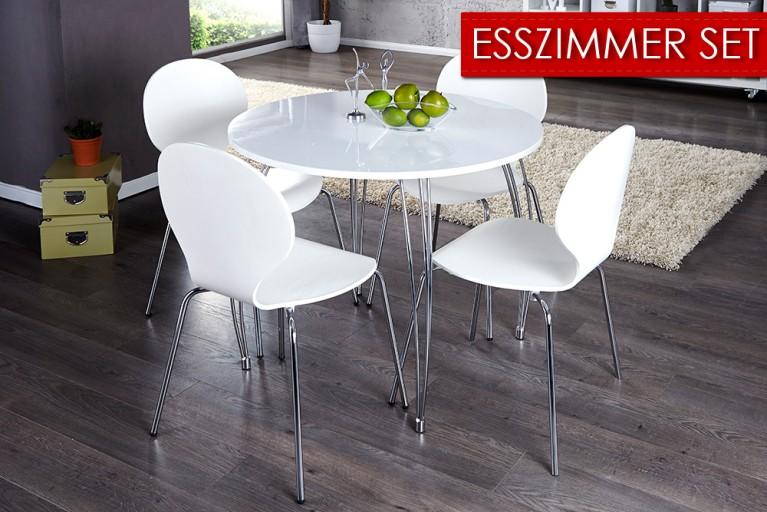 Esszimmer-Set bestehend aus Esstisch ARRONDI und 4x Design Stuhl FORM weiß Spar Tipp