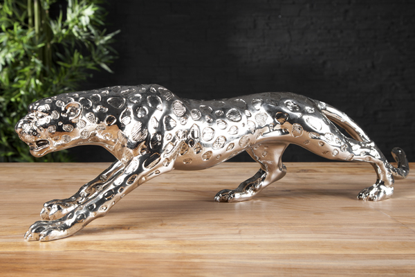 Riesige Design Skulptur LEOPARD 80cm silber Figur Deko Accessoire Statue