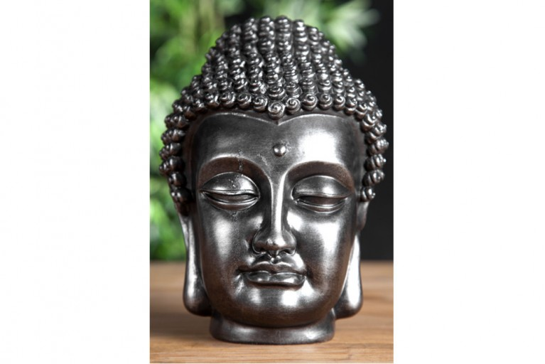 Design Buddha Kopf Skulptur schwarz silber Deko Accessoires