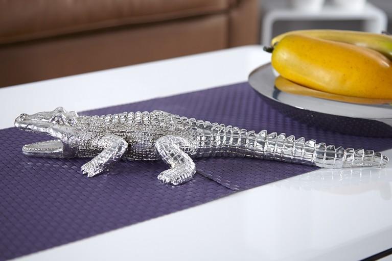 Große Skulptur CROCODILE Krokodil Figur 45cm silber für innen und außen