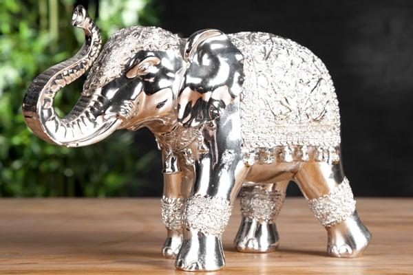 Design Skulptur ELEPHANT 20cm silber Figur Deko Accessoire Statue