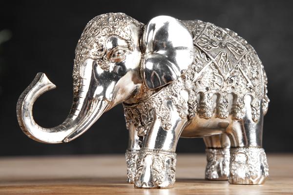 Design Skulptur ELEPHANT 15cm silber Figur Deko Accessoire Statue