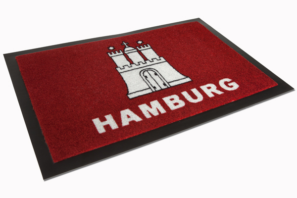 Große Fußmatte HAMBURG rot waschbar 40x60cm Schmutzfangmatte
