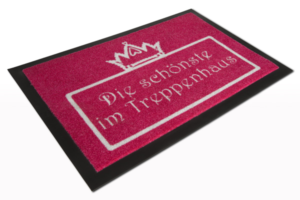 Große Fußmatte DIE SCHÖNSTE pink waschbar 40x60cm Schmutzfangmatte