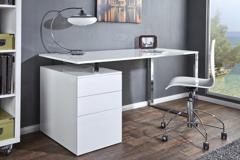 Design Schreibtisch COMPACT hochglanz weiss Bürotisch