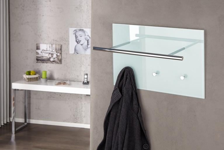 Exklusive Design Wandgarderobe AZZARETTI weiß Garderobe Glas