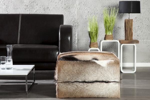 Design Sitzhocker JAMBI mit echtem Ziegenfell Echtfell Hocker quadratisch
