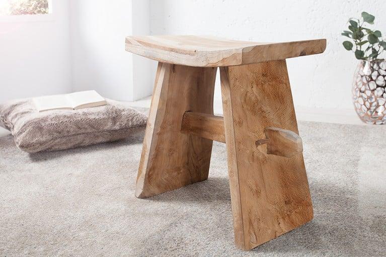 Design Japan Klassiker ZEN Hocker aus edlem Teakholz Holzhocker