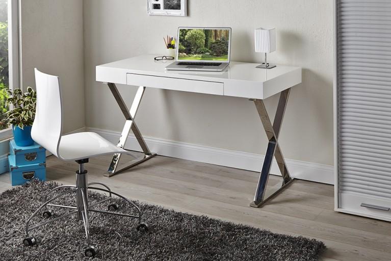 Design Schreibtisch GRACE high gloss 120cm weiss Schublade