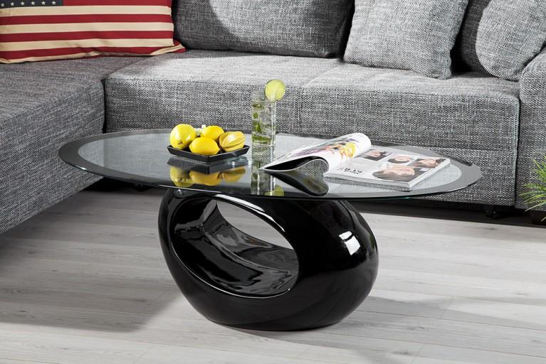 Design Couchtisch RING schwarz Hochglanz Tisch Glastisch