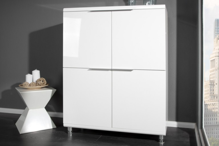 Design Highboard HIGHCLASS hochglanz Lack weiss Sideboard 4 Türig