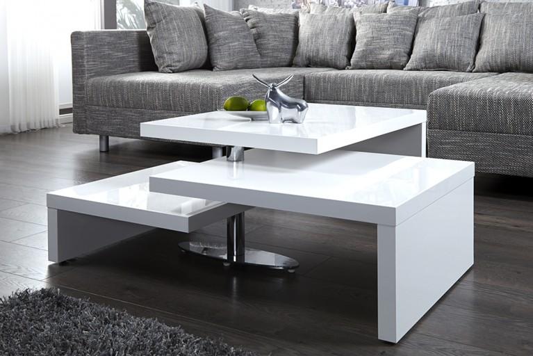 Funktioneller Design Couchtisch HIGHCLASS  hochglanz Lack weiss Tisch