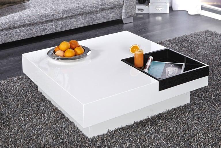 Design Couchtisch CUEBASE mit integriertem Tablett weiß Hochglanz