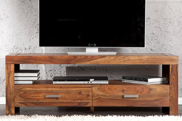 Massives Design TV-Board MAKASSAR Sheesham 135cm Schubladen Tisch