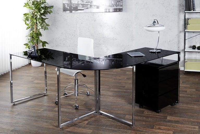 Exklusiver Design Eck-Schreibtisch BIG DEAL Glas schwarz