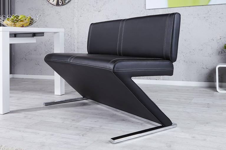 Elegante Sitzbank AIR schwarz mit Rückenlehne