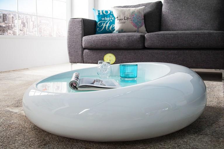 Extravaganter Couchtisch ELLIPSE weiss Hochglanz Glas Tisch