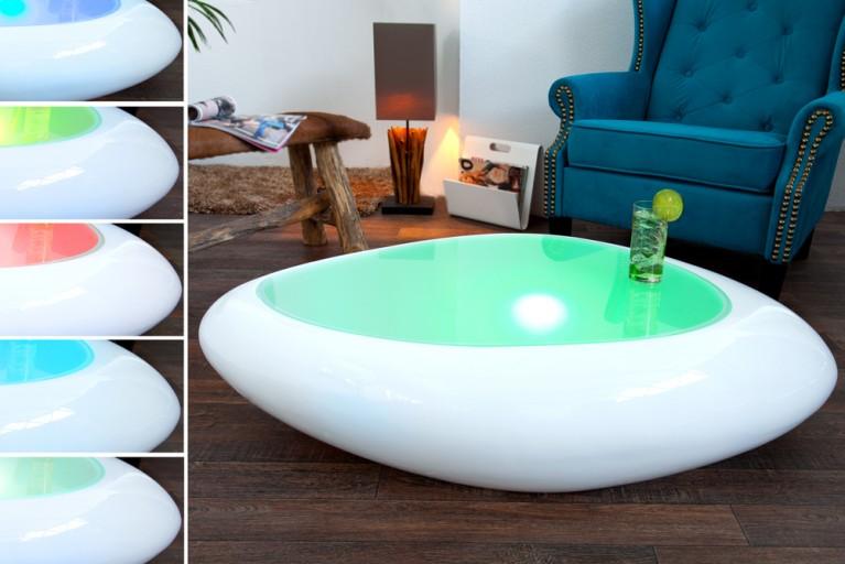 Extravaganter Couchtisch FLASH weiss LED Farbwechsel Beleuchtung