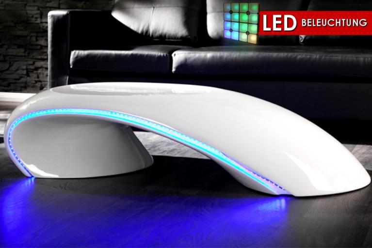 Design Couchtisch CURVE weiss mit LED Beleuchtung blau Fiberglas