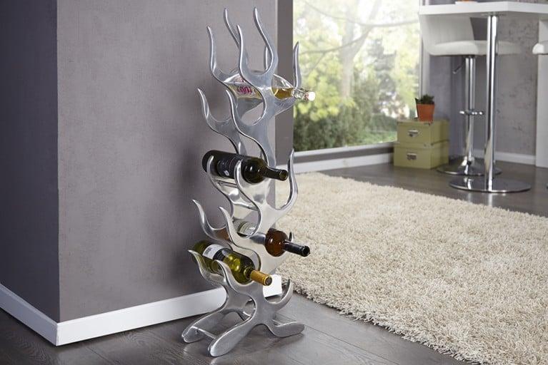 Design Weinregal FLAME Metall-Aluminium Legierung fuer 9 Flaschen Accessoire