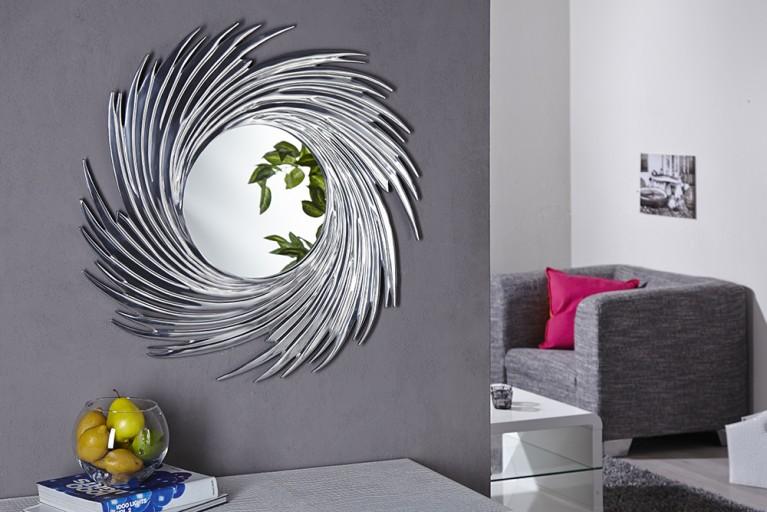 Runder Design Wand Spiegel SOLEIL mit Alurahmen