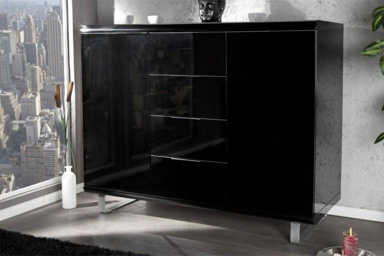 Design Highboard RIO hochglanz Lack schwarz Kommode 4 Schubladen 2 Türen