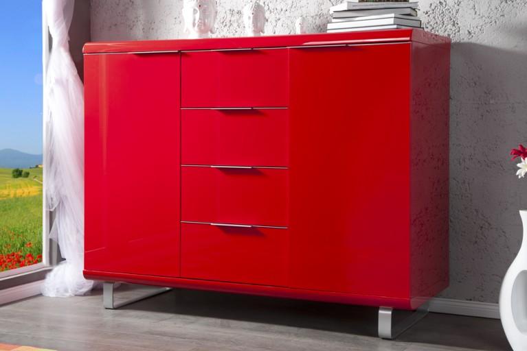 Design Highboard RIO hochglanz Lack rot Kommode 4 Schubladen 2 Türen