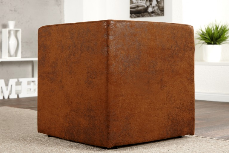 Design Club Hocker MONOLIT 1er braun Antik Sitzwürfel 45cm