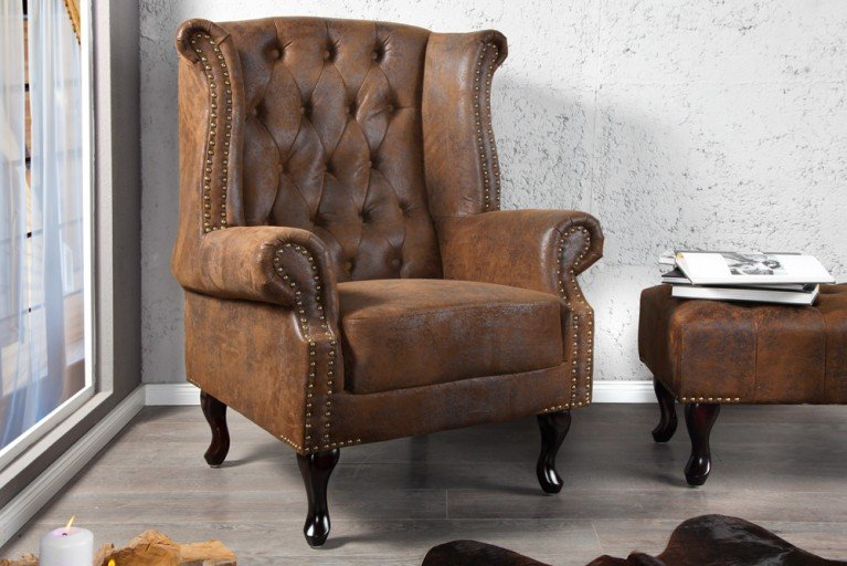 Design Chesterfield Ohrensessel im Antik Look