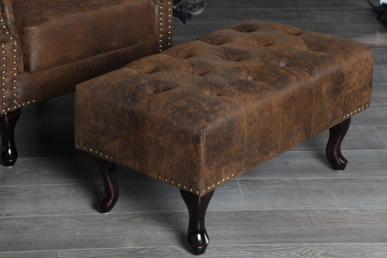 Design Chesterfield Fußhocker Antik braun