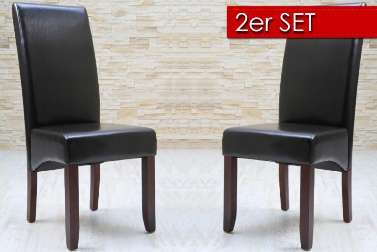 2er SET vom eleganten Kolonial Stuhl VALENTINO coffee Holzbeine dark brown