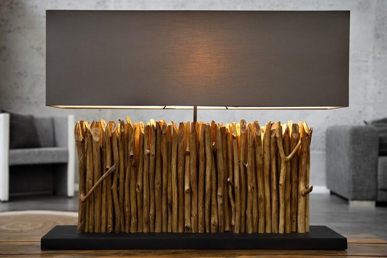 Große Design Lampe DESIRE grau braun Treibholz Leuchte Handarbeit