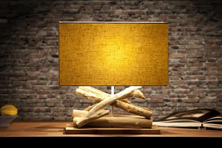 Design Treibholz Lampe LIFE Leinen Schirm Tischleuchte massives Edelholz Handarbeit