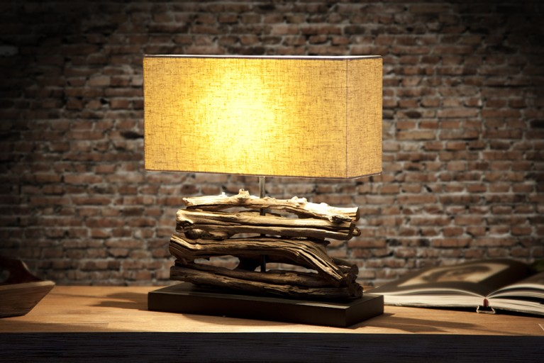 Design Treibholz Lampe PERIFERE beige Tischlampe Handarbeit und mit echtem Leinenschirm