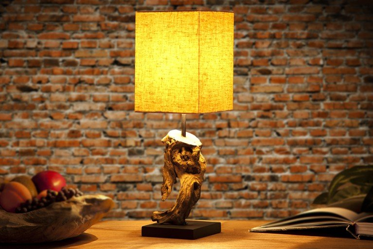 Design Treibholz Lampe HYPNOTIC Leinen Schrim Tischlampe in Handarbeit