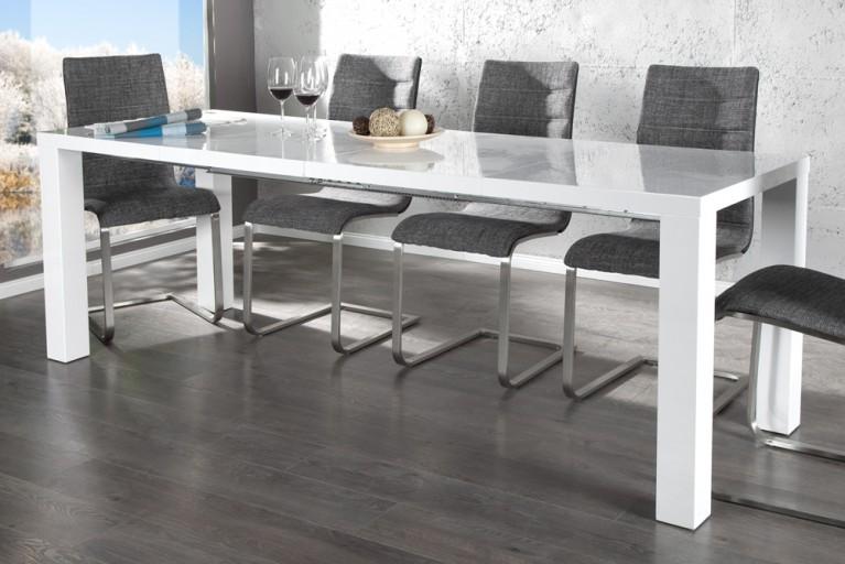 Ausziehbarer Esstisch LUCENTE weiss hochglanz 120 - 240cm Tisch