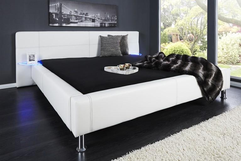 Doppelbett WESTSIDE 180x200cm weiss 2x LED Nachttische