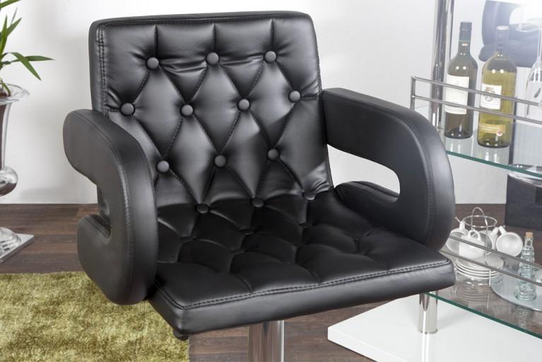 Exklusiver Design Barhocker CASINO Kunstleder Bistrostuhl schwarz