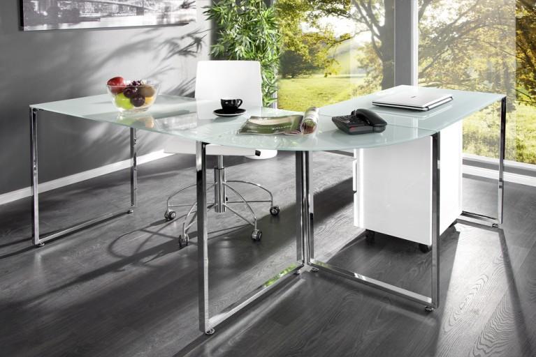 Exklusiver Design Eck-Schreibtisch BIG DEAL Glas weiss