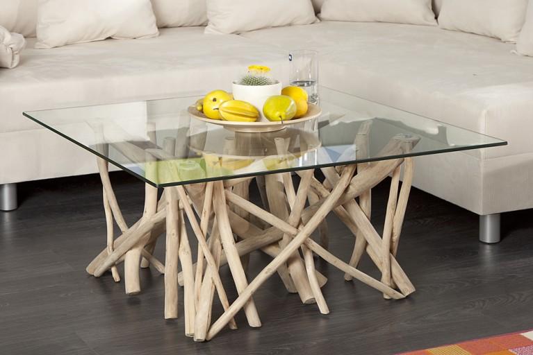 Design Couchtisch DRIFTWOOD Treibholztisch mit Glasplatte eckig