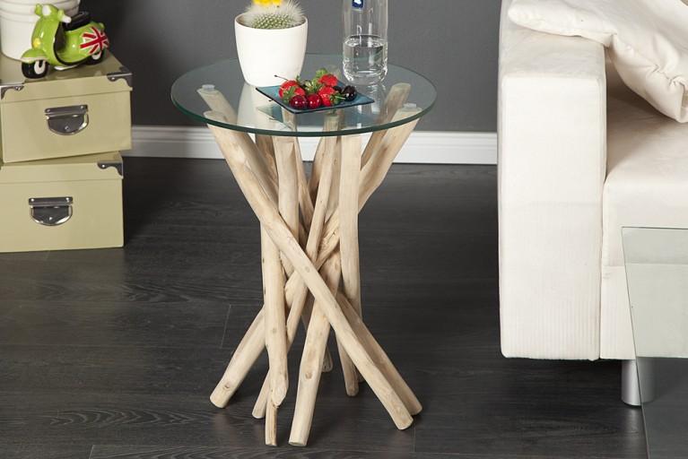 Design Beistelltisch DRIFTWOOD Treibholztisch mit Glasplatte rund