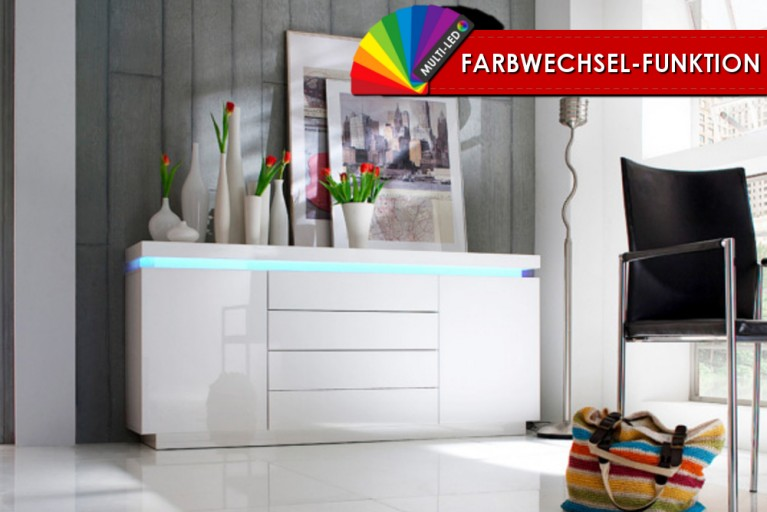 Modernes Sideboard CHAMELEON hochglanz weiss inkl. LED Farbwechsel