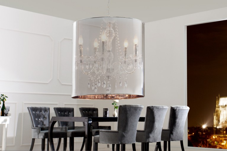 Design Hängeleuchte GHOST silber chrom transparent Zylinder Lüster